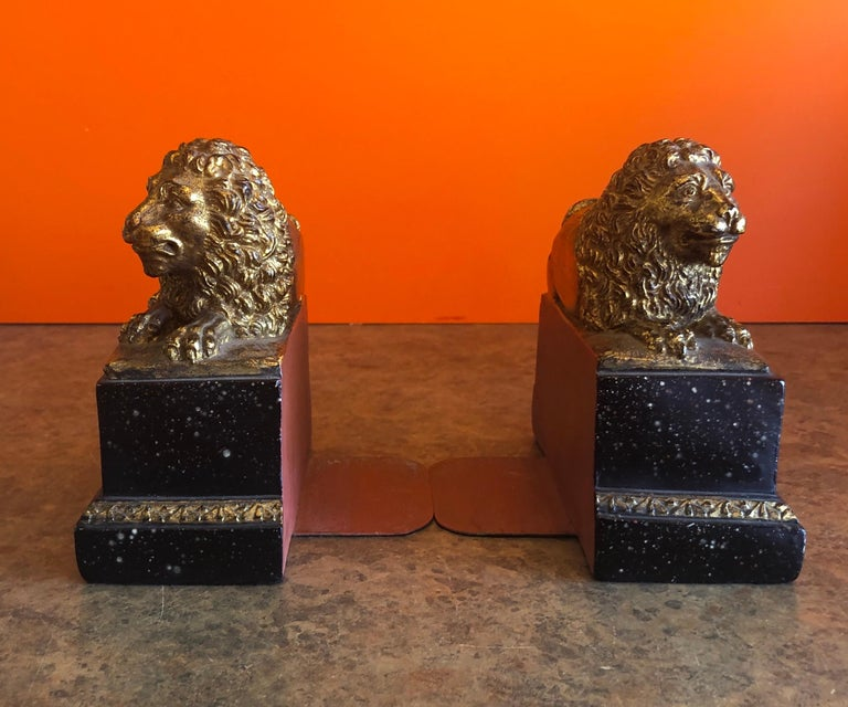 Cast Pair of Hollywood Regency Gold Gilt Lion Bookends by Borghese For Sale