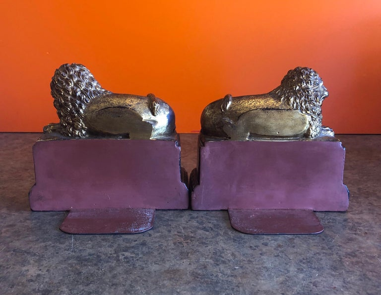 Pair of Hollywood Regency Gold Gilt Lion Bookends by Borghese In Good Condition For Sale In San Diego, CA