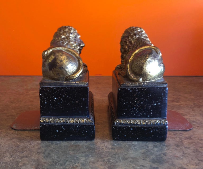 20th Century Pair of Hollywood Regency Gold Gilt Lion Bookends by Borghese For Sale