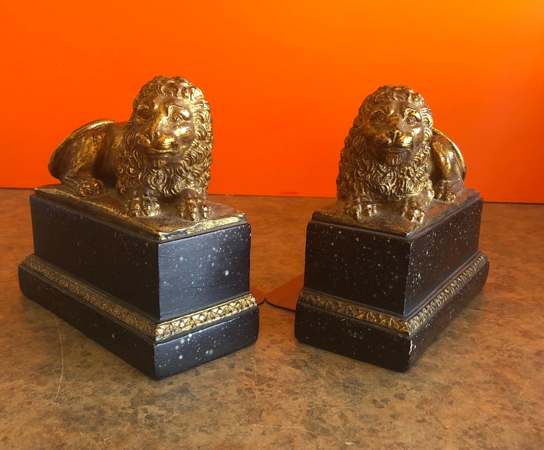 Pair of Hollywood Regency Gold Gilt Lion Bookends by Borghese For Sale 2