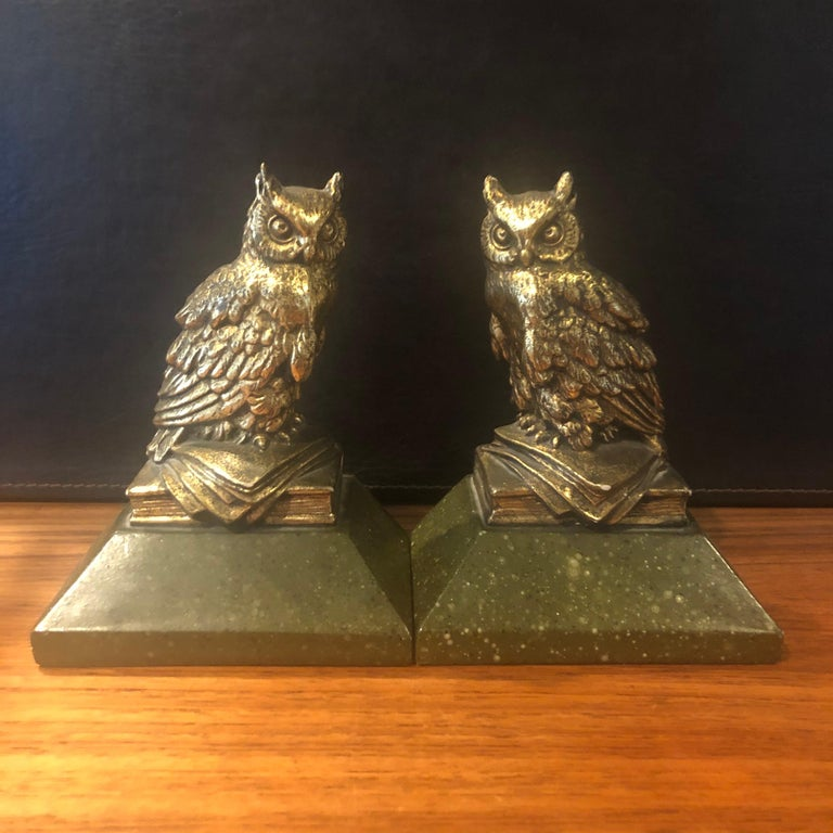 Cast Pair of Hollywood Regency Gold Gilt Owl Bookends by Borghese For Sale