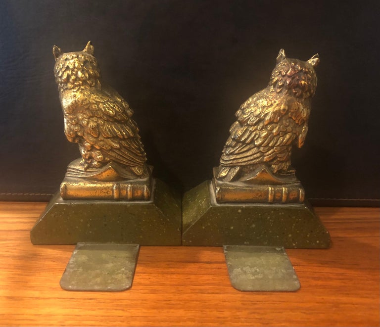 20th Century Pair of Hollywood Regency Gold Gilt Owl Bookends by Borghese For Sale