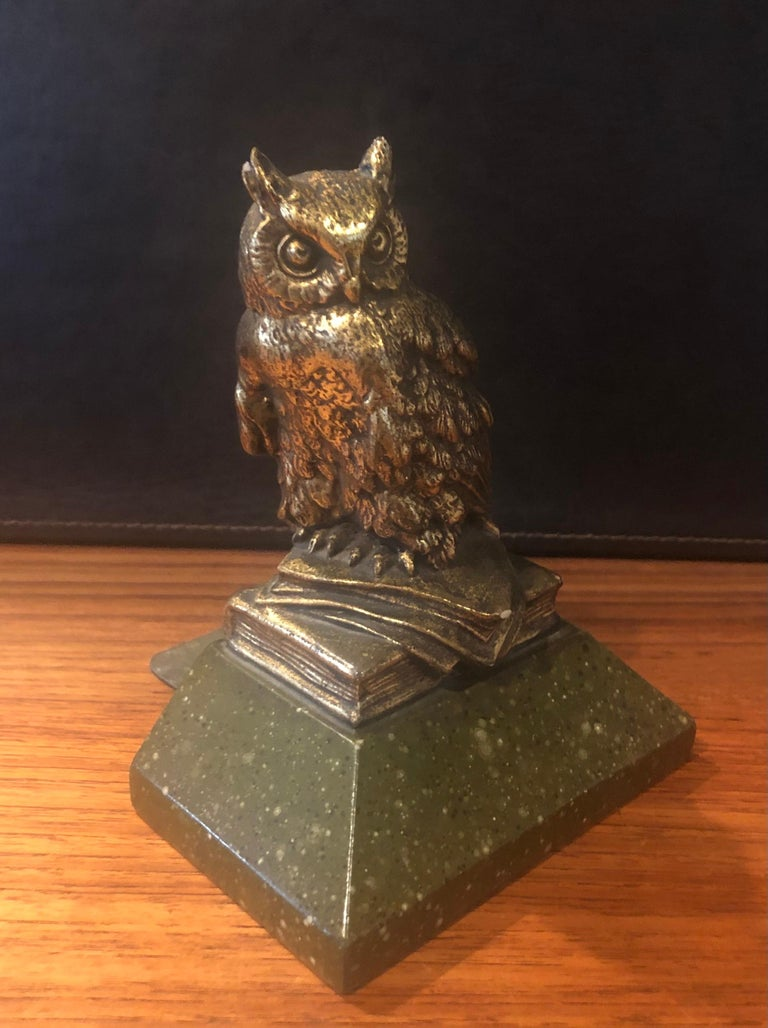 Plaster Pair of Hollywood Regency Gold Gilt Owl Bookends by Borghese For Sale