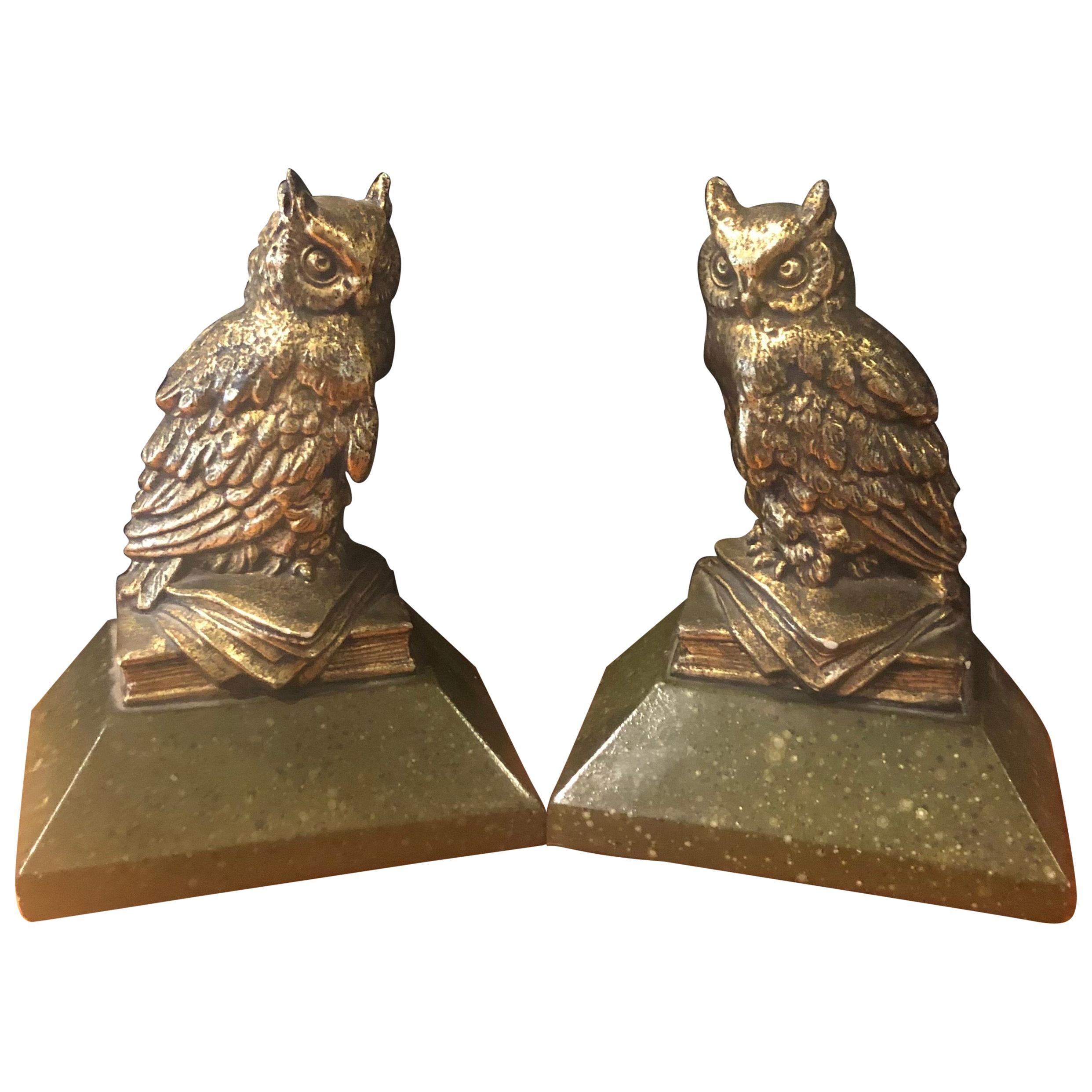 Pair of Hollywood Regency Gold Gilt Owl Bookends by Borghese