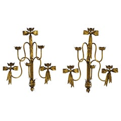 Pair of Hollywood Regency Gold Iron Bow Tole Metal Wall Sconces Candelabra