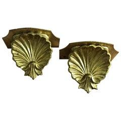 Pair of Hollywood Regency Gold Leaf Regency Shell Wall Shelves