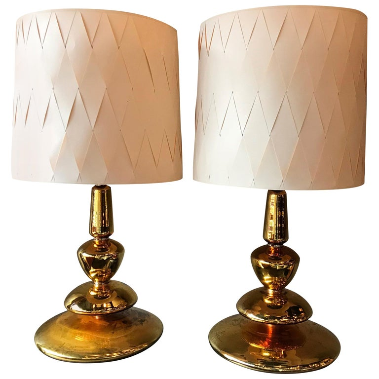 Pair Of Hollywood Regency Gold Mercury Glass Table Lamps At