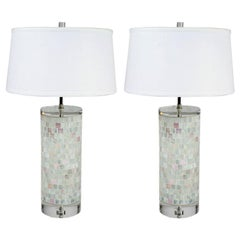 Pair of Hollywood Regency Italian Murano Glass Mosaic and Lucite Table Lamps