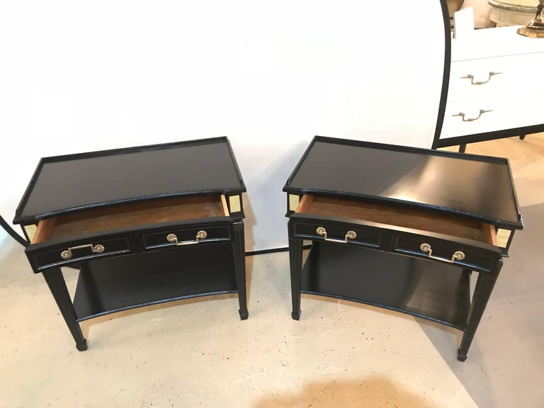 Pair of Hollywood Regency Jansen Style Ebony 1 Drawer End Tables/Bedside Stands In Good Condition For Sale In Stamford, CT