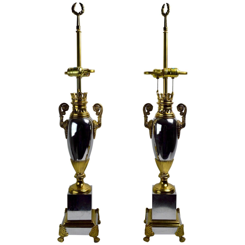 Pair of Hollywood Regency Lamps by Tyndale