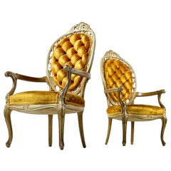 Pair of Hollywood Regency Louis XV Style Gold Velvet Deep Tufted Armchairs