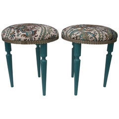 Pair of Hollywood Regency, Louis XVI Style Round Stools