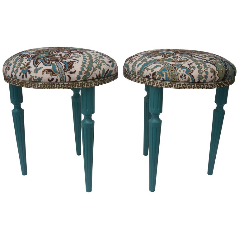 Pair of Hollywood Regency, Louis XVI Style Round Stools For Sale