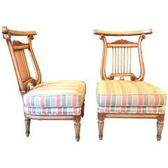 Pair of Hollywood Regency Low French Lyre Back Side Chairs in Manner of Jansen