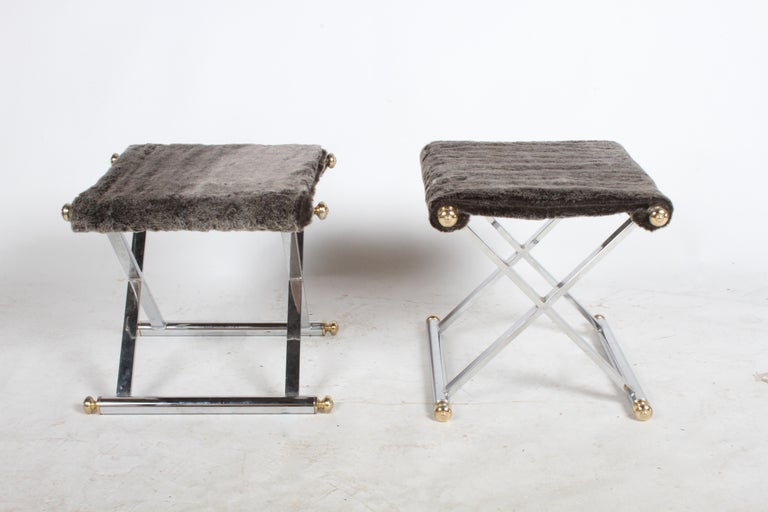 Pair of Hollywood Regency Maison Jansen Style X-Frame Chrome and Brass Stools For Sale 3