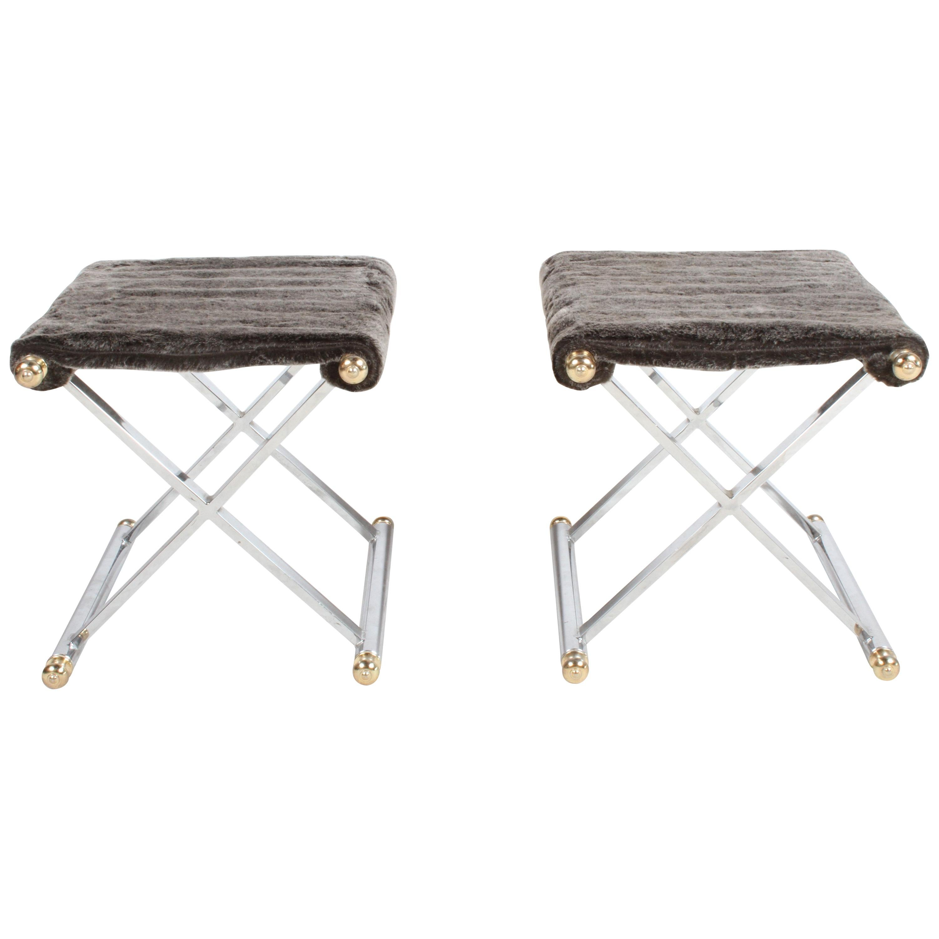 Pair of Hollywood Regency Maison Jansen Style X-Frame Chrome and Brass Stools