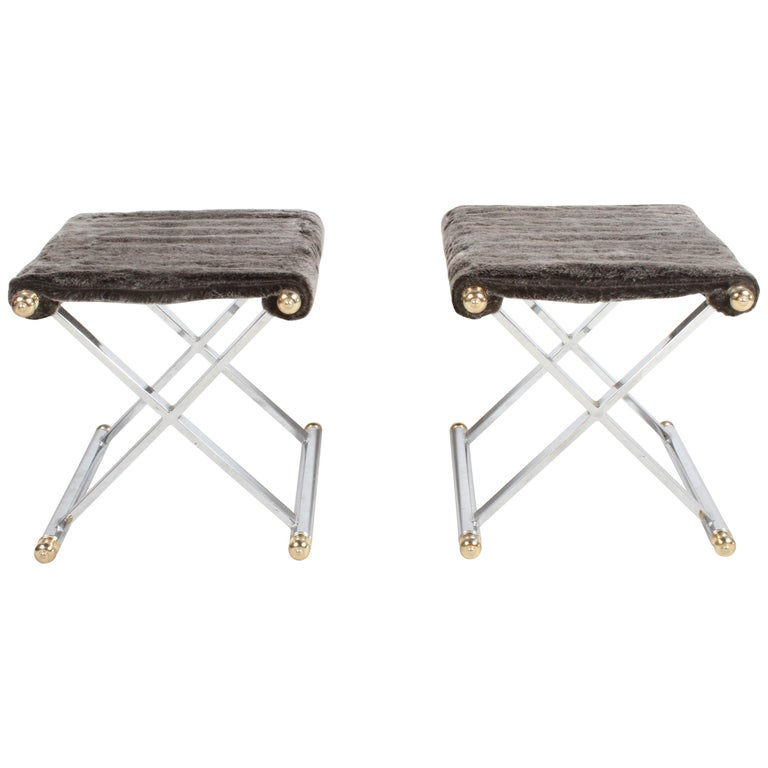 Pair of Hollywood Regency Maison Jansen Style X-Frame Chrome and Brass Stools For Sale