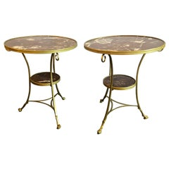 Pair of Hollywood Regency Marble-Top Bronze Bouillotte Tables End/Side Tables