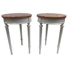Pair of Hollywood Regency Marble-Top Side Tables