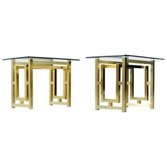 Pair of Hollywood Regency Mid-Century Modern Gold Brass End Tables