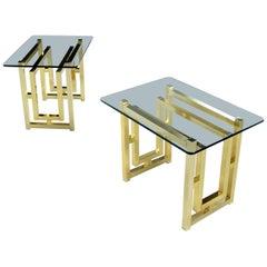 Pair of Hollywood Regency Mid-Century Modern Milo Baughman Gold Brass End Tables
