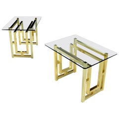 Pair of Hollywood Regency Mid-Century Modern Milo Baughman Gold Brass End Tables