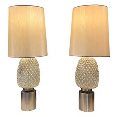 Pair of Hollywood Regency Midcentury Pressed Glass Table Lamps