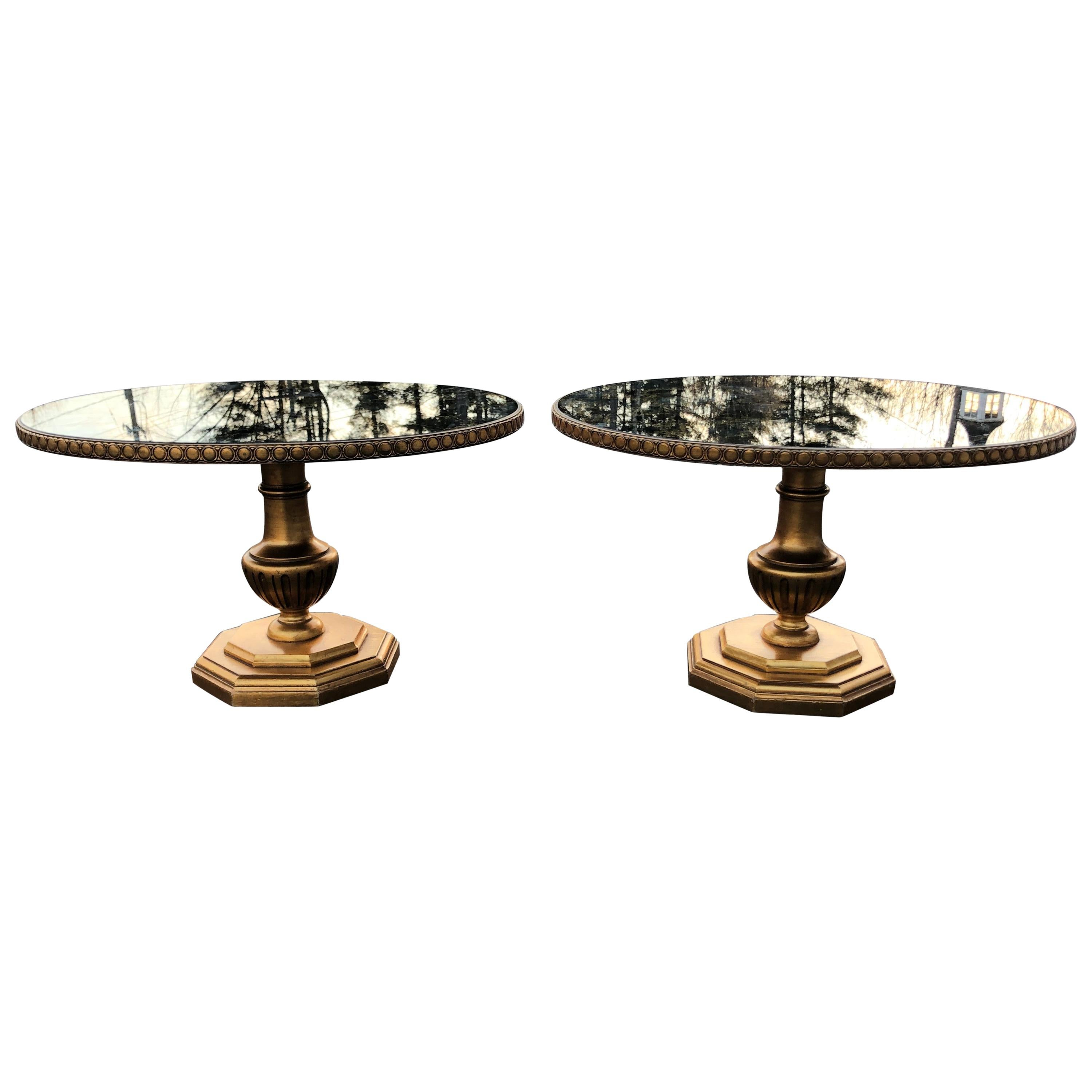 Pair of Hollywood Regency Mirrored End Tables