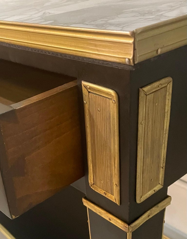 Pair of Hollywood Regency Neoclassical Ebony Console Tables Manner Jansen For Sale 5
