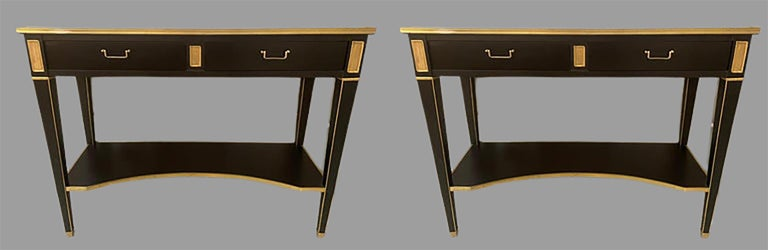 Pair of Hollywood Regency Neoclassical Ebony Console Tables Manner Jansen In Good Condition For Sale In Stamford, CT
