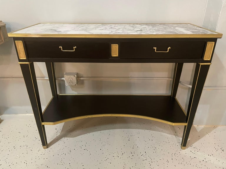 Bronze Pair of Hollywood Regency Neoclassical Ebony Console Tables Manner Jansen For Sale