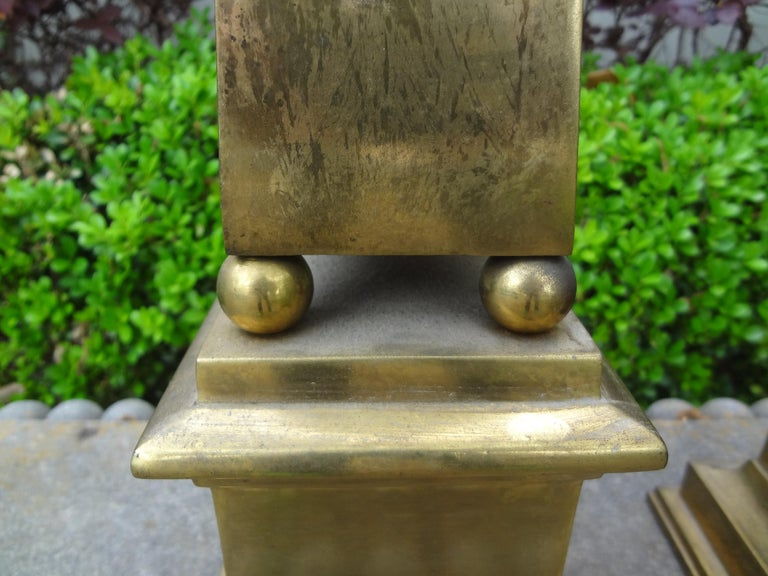 Pair of Hollywood Regency Neoclassical Style Brass Obelisks For Sale 4