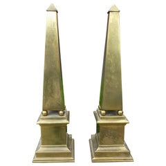 Pair of Hollywood Regency Neoclassical Style Brass Obelisks