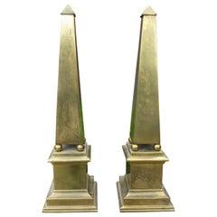 Pair of Hollywood Regency Neoclassical Style Brass Obelisks