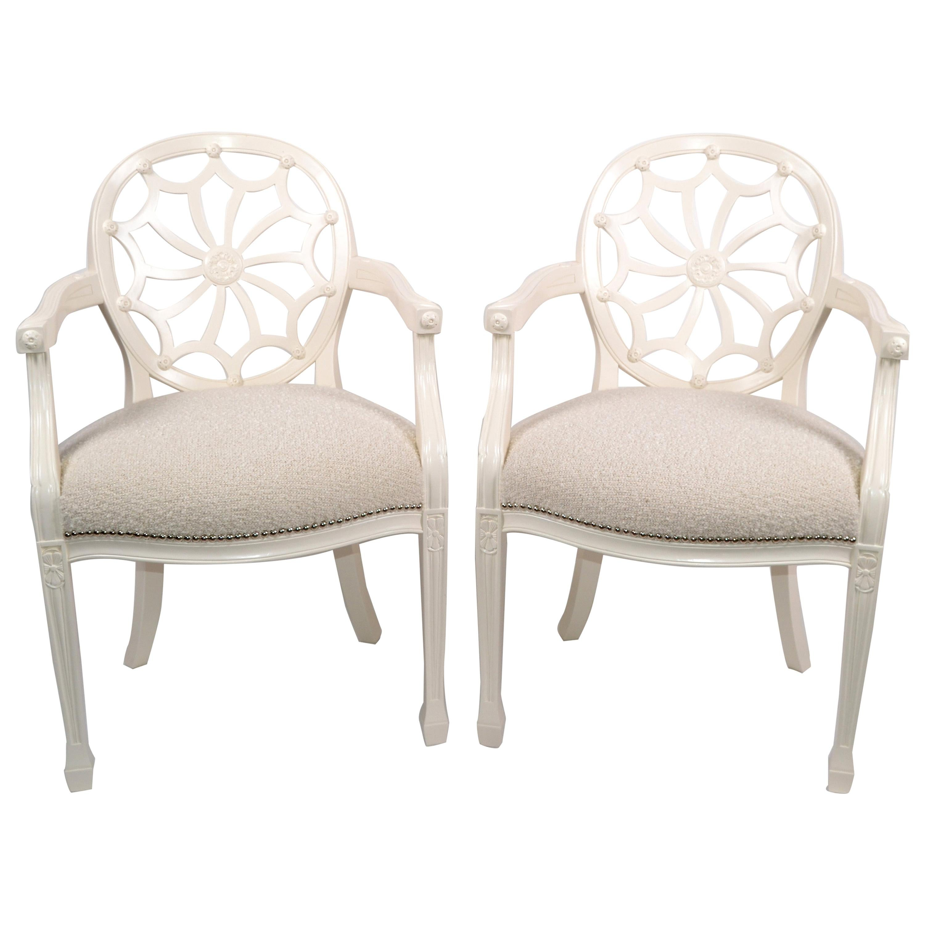 Pair of Hollywood Regency Off White Wooden Ornate Armchairs Beige Bouclé Fabric