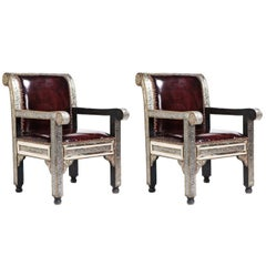 Pair of Hollywood Regency or Moroccan Lounge / Bergere / Livingroom Armchairs