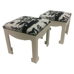 Pair of Hollywood Regency Ottomans with Scalamandre Upholstery