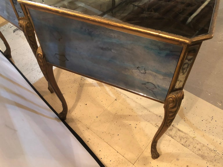 Pair of Hollywood Regency Painted End or Night Tables on Mirrored Cases 11