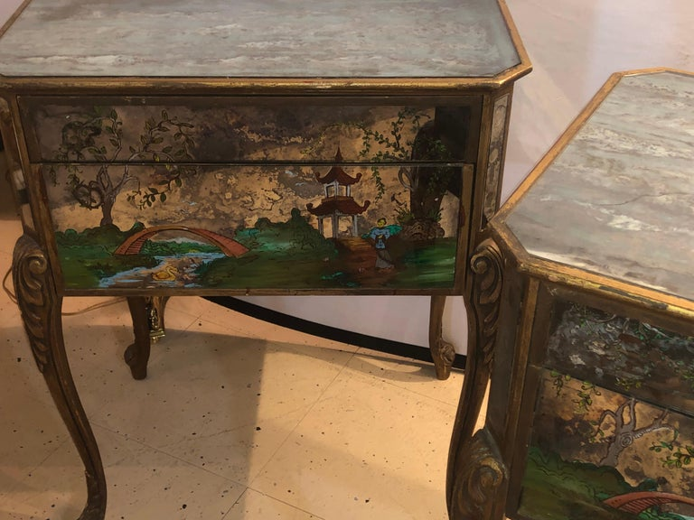 Pair of Hollywood Regency Painted End or Night Tables on Mirrored Cases 16