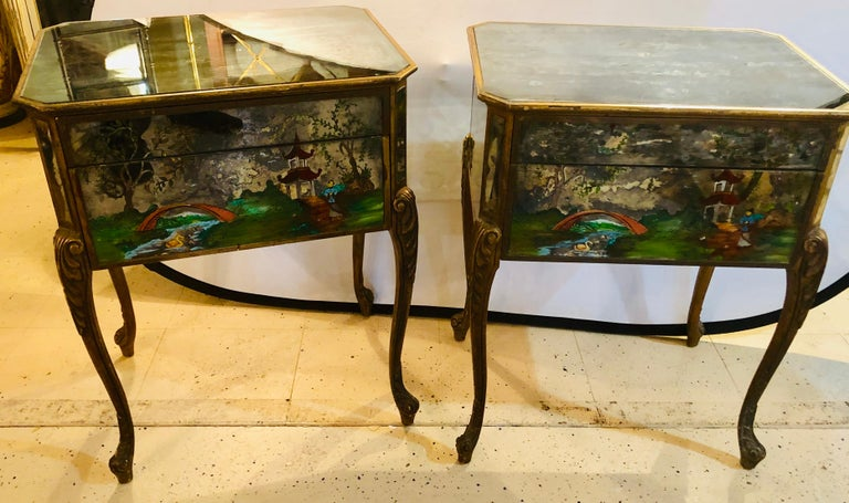 Pair of Hollywood Regency Painted End or Night Tables on Mirrored Cases 2