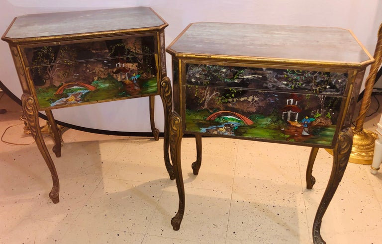 Pair of Hollywood Regency Painted End or Night Tables on Mirrored Cases 3