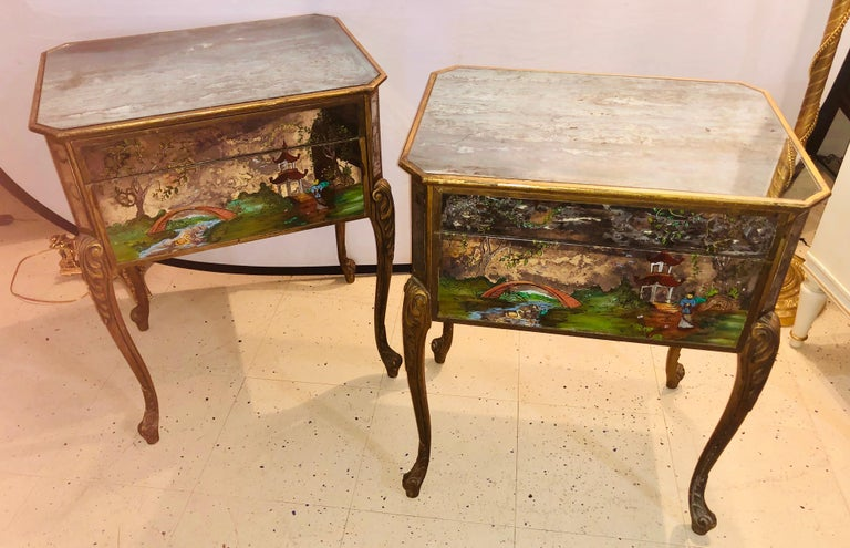 Pair of Hollywood Regency Painted End or Night Tables on Mirrored Cases 4
