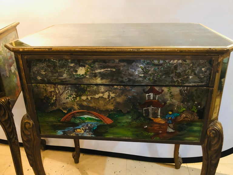 Pair of Hollywood Regency Painted End or Night Tables on Mirrored Cases 5