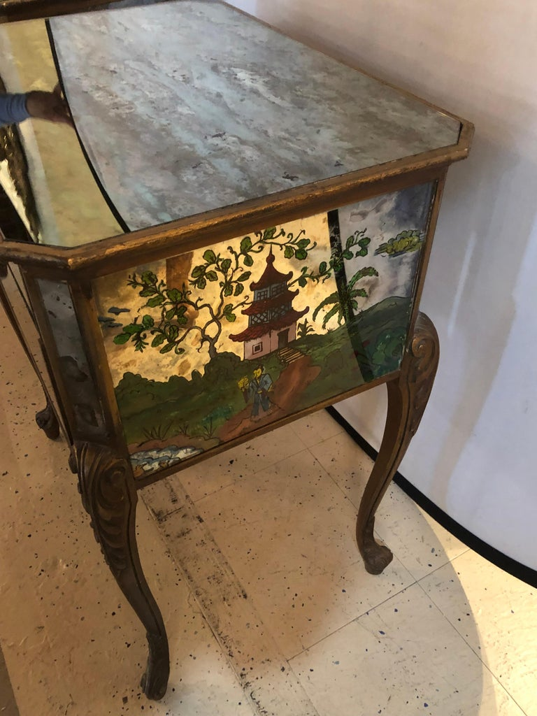 Pair of Hollywood Regency Painted End or Night Tables on Mirrored Cases 8