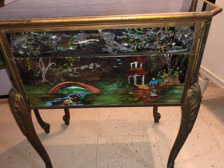 Pair of Hollywood Regency Painted End or Night Tables on Mirrored Cases 9