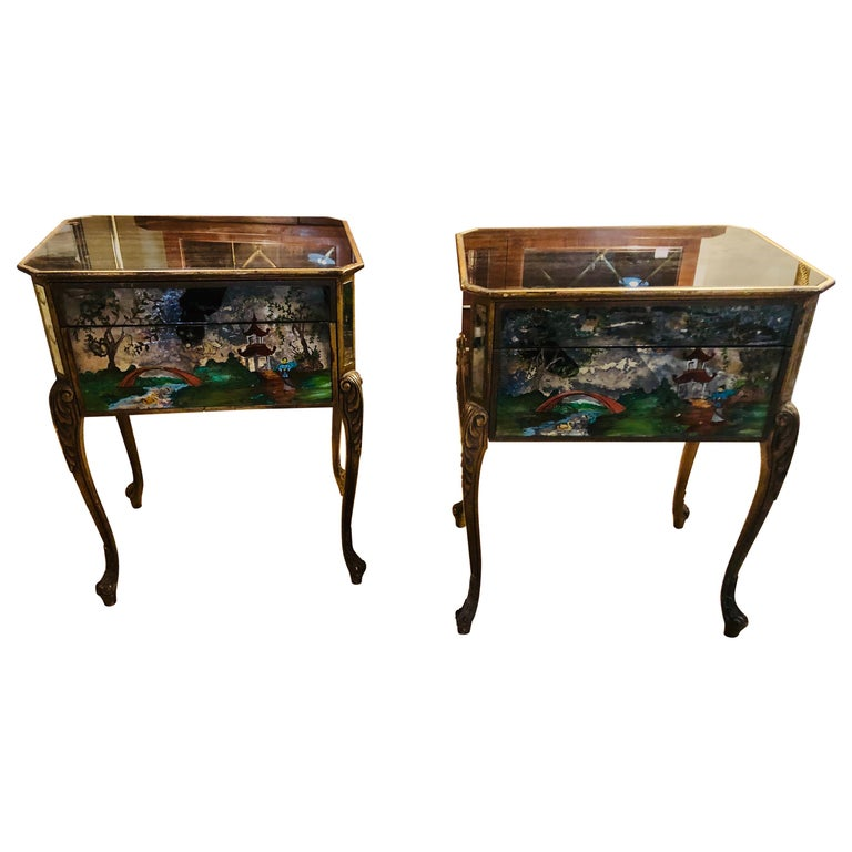 Pair of Hollywood Regency Painted End or Night Tables on Mirrored Cases 1