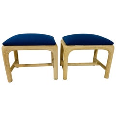 Pair of Hollywood Regency Reed Upholstered Benches