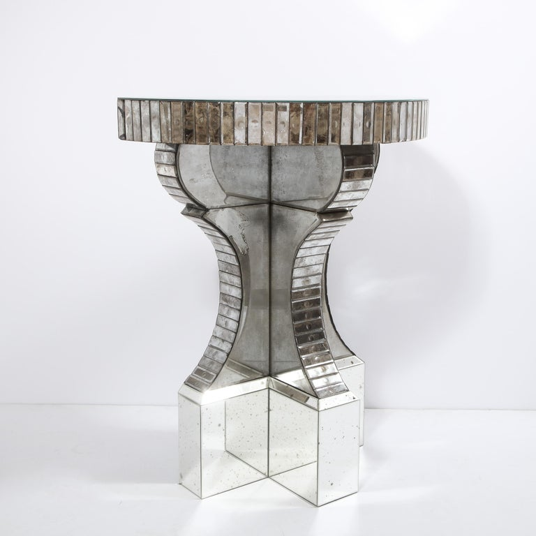 Pair of Hollywood Regency Reverse Etched Beveled Antique Mirror Console Tables For Sale 5