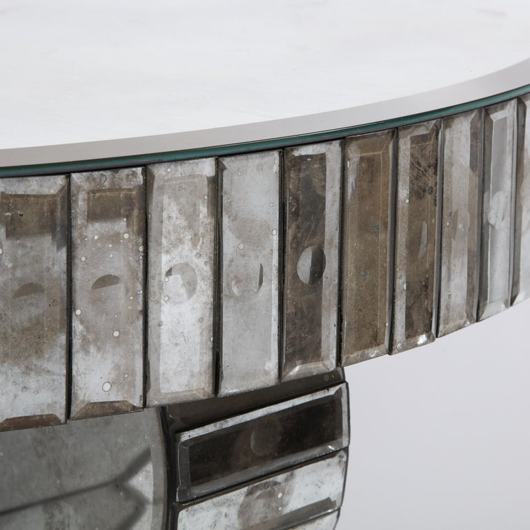 Pair of Hollywood Regency Reverse Etched Beveled Antique Mirror Console Tables For Sale 8