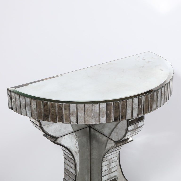 Pair of Hollywood Regency Reverse Etched Beveled Antique Mirror Console Tables For Sale 9